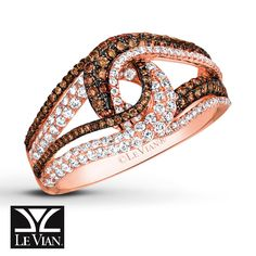 Swirls of scrumptious Chocolate Diamonds® layered with sparkling Vanilla Diamonds® trace interlocking loops in this limited edition ring from Le Vian®. Fashioned in sweet 14K Strawberry Gold®, the ring has a total diamond weight of 7/8 carat.