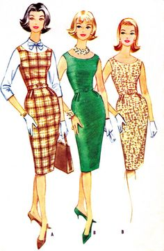 1960s daytime dress: still following the new look silhouette, the 1960s daytime dress was often more form fitting and in brighter colors.