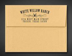 Custom Return Address Stamp - Pre Inked / Self Inking Stamp - Deer - Ranch - Western