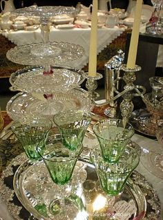 Love these glass cake stands.