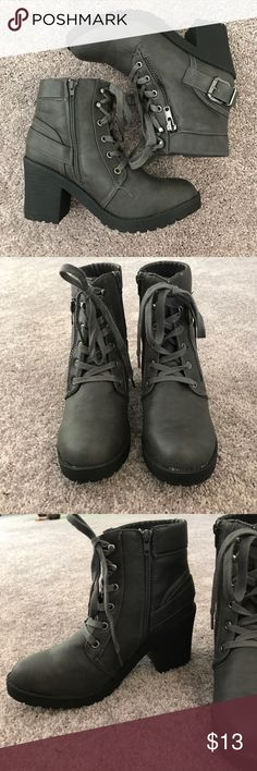 Brand New Grey Combat Boots Never worn! New without tags. They are very comfortable and gorgeous. Let me know if you have any questions Rue 21 Shoes Combat & Moto Boots
