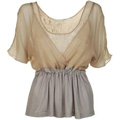 DAY BIRGER ET MIKKELSEN Chiffon lace top (290 SAR) ❤ liked on Polyvore featuring tops, blouses, shirts, blusas, chiffon blouses, tie waist top, brown blouse, tie waist shirt and lace blouse