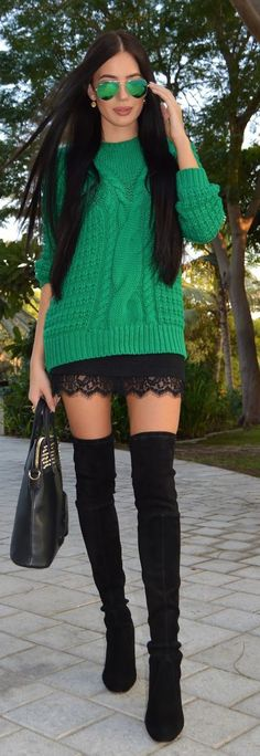 Green Cable Knit Streetstyle Fashion. Chunky emerald green sweater outfit with black lace skirt and tall black boots for 2016 2017.