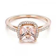 Custom Morganite and Diamond Halo Rose Gold Engagement Ring - 101522 | Joseph Jewelry Seattle Bellevue