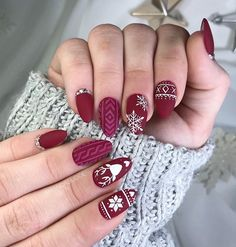 109 cutest christmas nail art diy ideas Christmas nails are that necessary component of your good vacation look. that's why we have a tendency to are suggesting to your attention this recent Christmas nail. Christmas Gel Nails, Christmas Nail Art Designs, Holiday Nail Art, Winter Nail Art, Christmas Ideas, Nail Ideas For Winter, Winter Christmas, Cute Acrylic Nails, Cute Nails