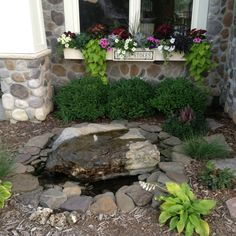 An idea for a shady spot in your garden: fountain, astilbe & hostas. Dig a hole, line with thick plastic, 2 cinder blocks hold up the rock. Buy a rock with a hole already drilled. Pump is hidden in the back under the water in an orange home depot bucket. Clear plastic tubing runs from pump up to the top of the hole.  Plug pump in a timer. Line inside and outside with flat rocks. Cover electrical with mulch. Voila DIY fountain. (except the rock, need a bobcat to place on cinder blocks.)