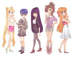 Modern Scouts. This is sooo accurate. Ami would totally have that cardigan and Makoto would definitely have those shorts. Even though I love their 90s fashion, it's fun to see this. :)