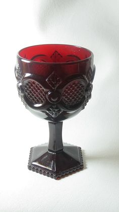 Ruby Red Avon Cape Cod water goblet