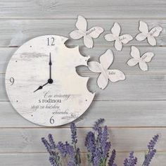 Nástěnné hodiny s motýly Clocks, Origami, Watches, Interior, Wall, Handmade, Design, House, Home Decor