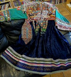 Kuchi Nomad Ceremonial Velvet Beaded Vintage Dress from Afghanistan