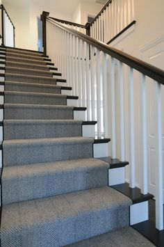 Stairway Herringbone Carpet With Stair Color Janssen Stairs – carpet stairs Stairway Carpet, Carpet Stairs, Stairs With Carpet Runner, Hallway Carpet, Landing Decor, Stairs Colours, Wooden Stairs, Glass Stairs, Carpet Installation