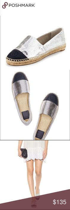 NWT Tory Burch Metallic Color-Block Espadrilles Silver and Navy color-block Espadrille! Women's size 9.5 brand new, never worn! Comes with box! Cracked silver metallic leather and smooth navy. Embroidered double-T logo at toe. Jute rope footbed, canvass lining, full rubber sole. Comfy and cute to dress up or dress down any look! Perfect for summer to show off your tan  Tory Burch Shoes Espadrilles