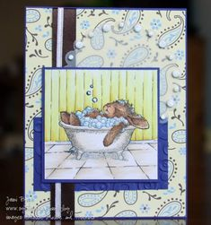 Happy Hopper in the Tub by sgtStamper - Cards and Paper Crafts at Splitcoaststampers House Mouse Stamps, Get Well Cards, Penny Black, Card Envelopes, Cards For Friends, Copics, Sympathy Cards, Line Drawing, Cardmaking