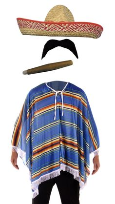 Mexican Poncho Mexico Party Fancy Dress Bandit Cowboy Accessories Stag Do | eBay