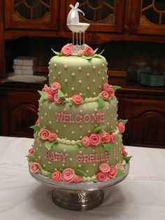 Elegant Baby Shower Cake - could do the colors she wants of course..