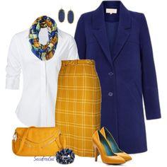Yellow & Royal by sassafrasgal on Polyvore featuring polyvore, fashion, style, Steffen Schraut, MIA, Lauren Ralph Lauren and Kendra Scott