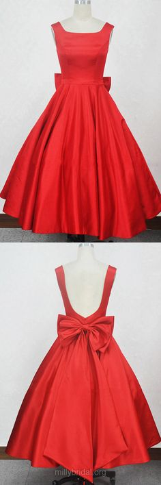 Ball Gown Red Prom Dresses, Square Neckline Homecoming Dresses,Satin Tea-length Cocktail Dresses, Bow Girls Formal Party Gowns
