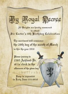 Medieval Times Birthday Party Invitation Ticket Printable Ticket
