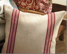 grain sack stripe pillow cover from Pottery Barn Sewing Pillows, Diy Pillows, Outdoor Throw Pillows, Accent Pillows, Decorative Throw Pillows, Pillow Ideas, Ikea Pillow, Floral Pillows, Pottery Barn Pillows