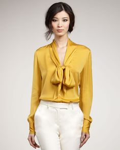 Tie Neck Silk Satin Blouse