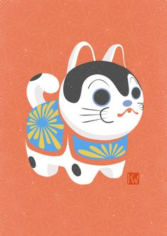 Inu Hariko Art Print by Project Aika - X-Small Japanese Pop Art, Japanese Dogs, Cute Japanese, Japan Illustration, Makeup Illustration, Mascot Design, Japan Design, Maneki Neko, Japan Art
