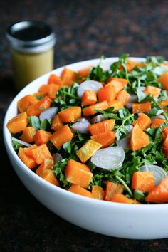 Butternut squash with escarole salad....this looks delicious