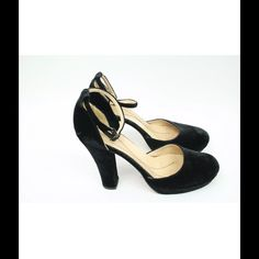 Kate Spade Black Velvet Mary Jane Heels Size 7 Condition: Velvet is scuffed and dented on heels.  Some wear on soles. Elastic on ankle strap is worn and needs to be reinforced by shoe cobbler. kate spade Shoes Heels