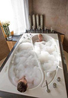 ZsaZsa Bellagio: Home Sweet Home Awesome! Dream Bathrooms, Beautiful Bathrooms, Bathtub Dream, Luxury Bathtub, Luxury Bathrooms, White Bathrooms, Master Bathrooms, Bath Tub For Two, Double Bathtub