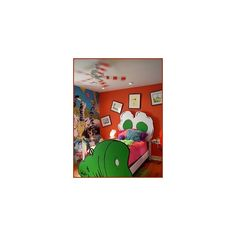 Dr Seuss nursery decorating ideas - Cat in the Hat theme bedroom decorating - fun Dr Seuss themed murals - childrens creative bedrooms - fantasy style Dr Seuss bedroom decorating for kids, found on #polyvore.