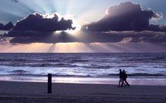 Sunset on the beach, Holland