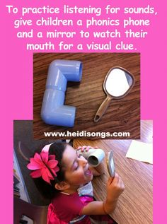 To practice listening for sounds, give children a phonics phone and a mirror so that they can listen carefully and watch their mouths for a visual clue. Zoo Phonics, Phonics Words, Jolly Phonics, Emergent Literacy, Kindergarten Literacy, Early Literacy, Letter Sound Activities, Phonics Activities, Preschool Age