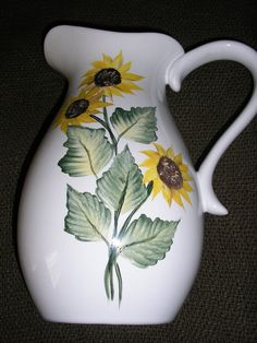 Painted Sunflower Pitcher by LisasPaintedCrafts on Etsy, $35.00