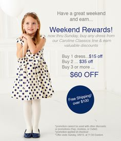 Shop with me Sept 6-8, 2013 for BIG Kelly's Kida savings! When you buy 3 Caroline Classics dresses, we'll deduct $60 off your total at checkout. Our dresses range from $56-$62 each. So it's like you buy 2, you get one FREE!!  Go to www.kellyskids.com/michellethompson and enter party # 17241. Thank you!   **Keep pinning to help spread the word!