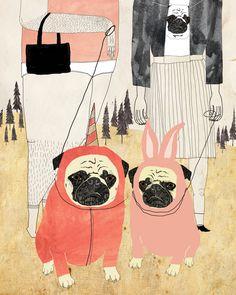 PUG LOVE Art Print