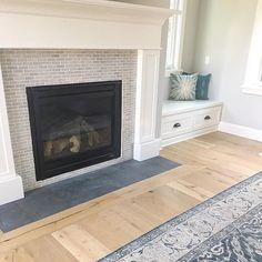 Slightly obsessed with the new fireplace tile at the #lovelanehouse The contrast of the Montauk Black slate on the hearth is so beautiful with the white oak floors! #aneyeforpretty #interiors #decor #decorating #interiordesign #classic #home #love #fireplace #4acetile