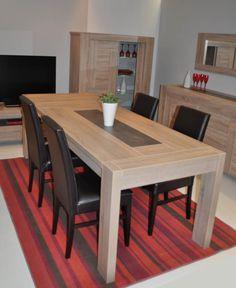 Table Rectangulaire moderne en chêne avec allonge intégrée EPINAL -