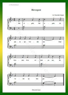 Het regent - Gratis bladmuziek van kinderliedjes in eenvoudige zetting voor piano. Piano leren spelen met bekende liedjes.