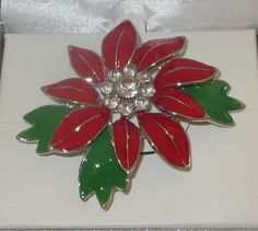 Poinsettia Pin Silver Plated Crystal Accents Christmas Flowers New in Gift Box  #Shine
