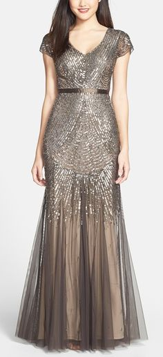 Beaded mesh v-neck dress by Adrianna Papell