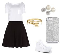 """""""Black and white"""" by trinclifford-1 ❤ liked on Polyvore featuring T By Alexander Wang, Converse, Bling Jewelry and Carolee"""