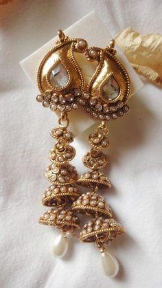 ZEVA Indian art ornamental earrings Pearl Large Jhumkha brand new | eBay