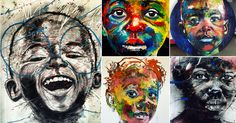 With a dizzying flurry of oil paints, watercolors, silkscreen & monotype printing techniques, charcoal, and ink, artist Nelson Makamo captures the daily life of South African children as reflected in their charismatic faces. Based in Johannesburg, Makamo prefers to refer to himself as a storyt