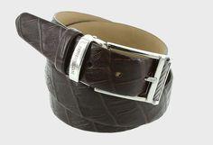 Belt - Brown - Emporio Balzani. Imitation crocodile effect. www.chemiseweb.com