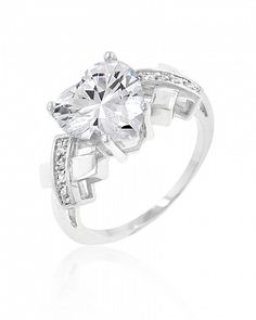 Allegra 4ct CZ White Gold Rhodium Heart Ring for $11.00 at Baubles.