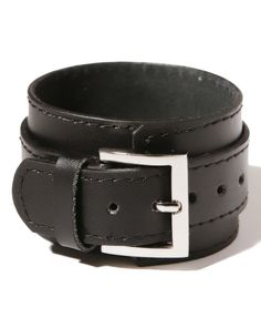 Black Wide Leather Bracelet with Pin Buckle Detail