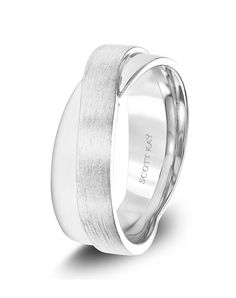 Men's Platinum Wedding Band with Satin & Bright Criss-Cross Finishes. Wedding Bands For Him, Wedding Men, Wedding Rings, Scott Kay, Simple Weddings, Rings For Men, Silver Rings, Engagement Rings, Stone