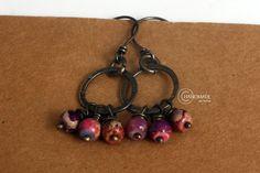 Sterling Hoop Earrings Purple Gemstone Bohemian Gypsy by SolKat, $40.00