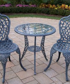 Love this Mississippi Cast Aluminum Three-Piece Glass Top Bistro Set by Oakland Living on #zulily! #zulilyfinds