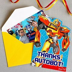 Send out a pic of the partiers in each Transformers thank you card to remind each guest of the out-of-this-world fun they had!