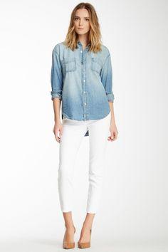 denim shirt + white skinny jean